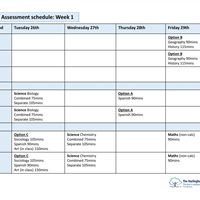 Year 10 Assessment Schedule Week 1